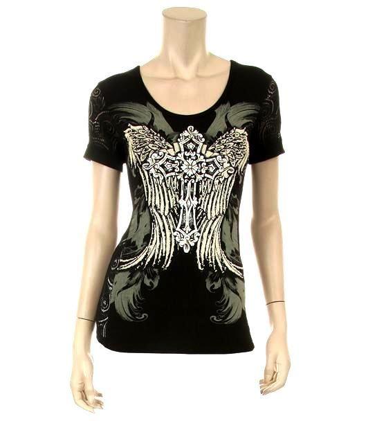 Women's Rhinestone Shirt with Cross and Angel Wing Print