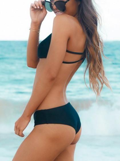 Save up to 50%, cheapest Dark Dense Black Solid Bikini Set Sale, Swimwear clearance for free shipping!