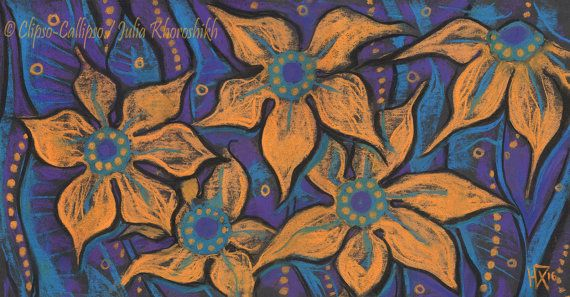 Golden flowers decorative painting pastel floral by ClipsoCallipso