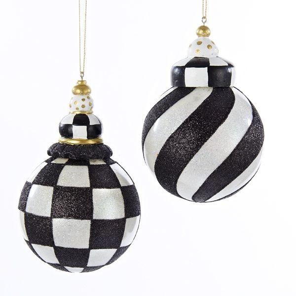 90MM BLACK/WHITE GLASS BALL W/RES CAP #CHECKEREDORNAMENTS
