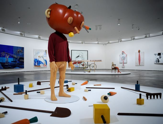 Paul McCarthy's artwork satirizes negative aspects of society such as violence, sexual perversion, and political corruption. His humorous and shocking brand of dystopian sculpture and photography leaves the viewer laughing and hopefully a little offended. If you choose to look up his art, prepare to see some crazy stuff.