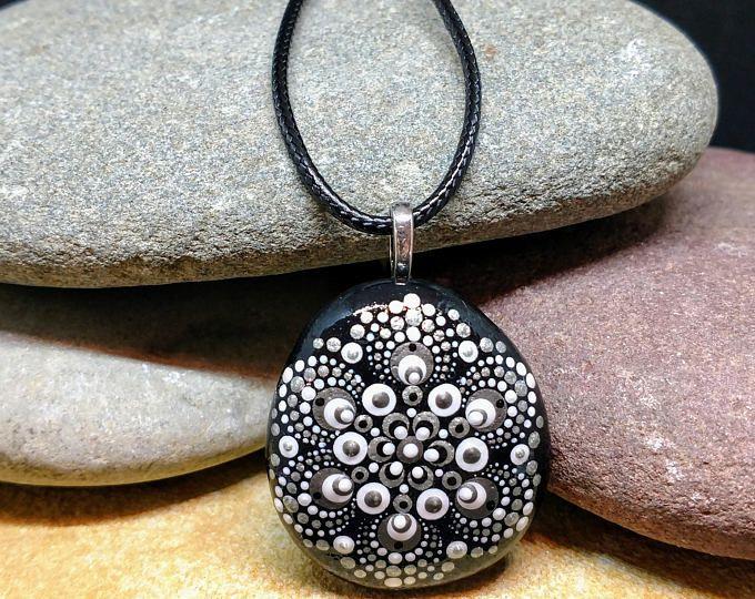 Hand painted mandala stone pendant
