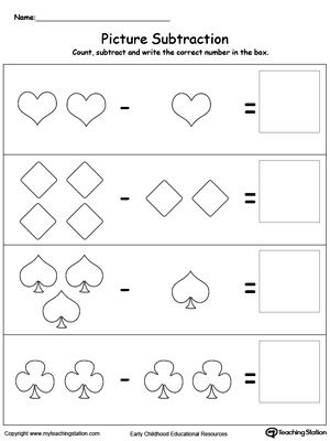 Learn Subtraction Using Shapes: Introduce subtraction basics with pictures, making it fun and easy for preschoolers to understand.