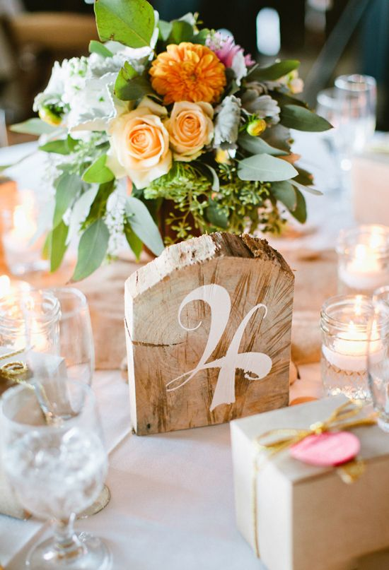hand-painted wood block table numbers / birdsofafeatherphoto.com