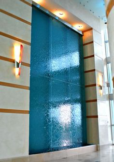 waterfall integrated into lobby wall