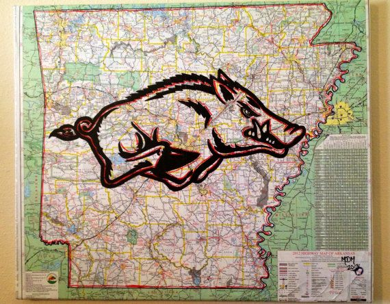 Original Razorback Painting on AR Map 20 x 24 on Etsy, $75.00