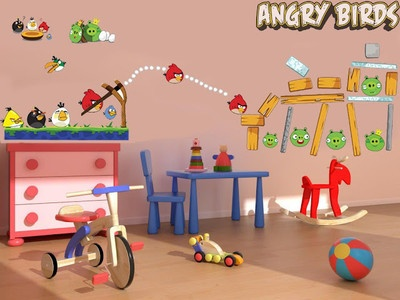 Details about angry birds large wall decor vinyl sticker for Angry bird wall mural