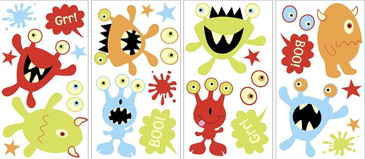 MyStyle MS0106 Little Monsters Glow-In-The-Dark Peel and Stick Wall Art - Decorative Wall Appliques - Amazon.com