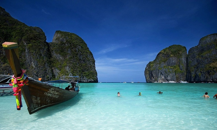 "Maya Bay... - for those unfamiliar, its in Koh Phi Phi. If your still unfamiliar, it's the paradise island in the film, ""The Beach"". If for some strange reason you still don't know, its that hidden beach where Leonardo Dicaprio collapses to his knees the moment he sees the beach for the first time in awe. #thailand #beach #travel #island"