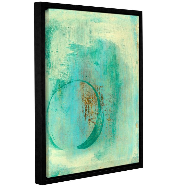Teal Enso by Elena Ray Gallery-Wrapped Floater-Framed Canvas