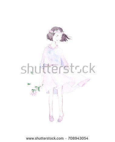 Girl with bouquet in hand. @knyshksenya #illustration #illustrator #ksenyaknysh #watercolor #girl #flowers #nature #illustration #art #mothersday #valentine