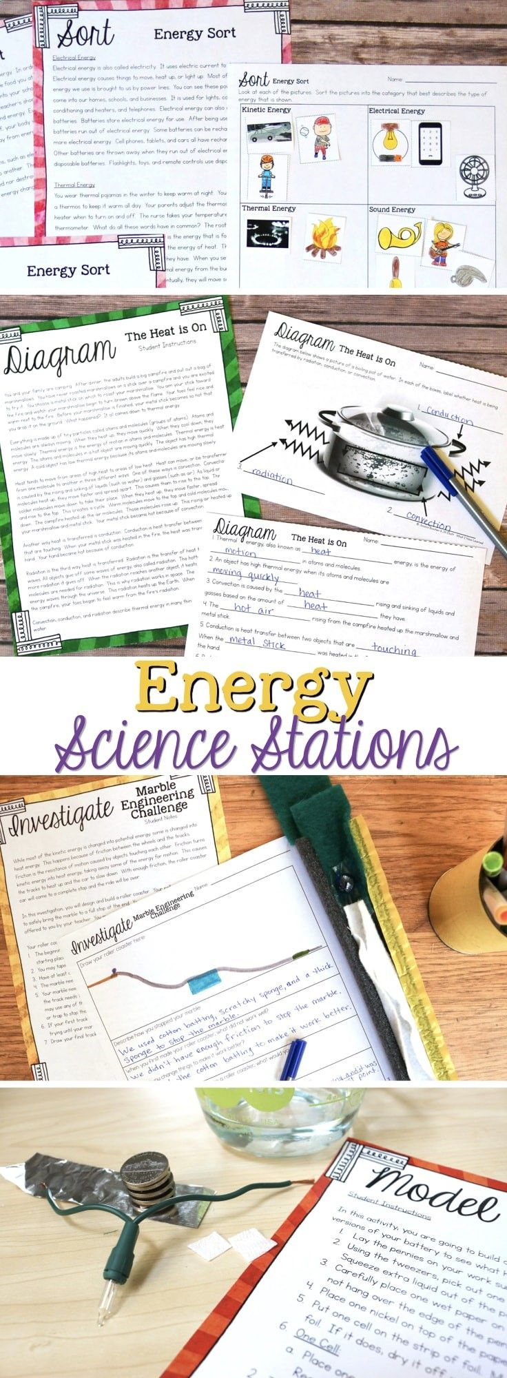 Energy Science Stations that help students gain a robust understanding of energy, energy transfer, and conservation of energy. Includes a variety of energy science activities for fourth grade science stations. Electrical energy, thermal energy, potential energy. #fourthgradescience