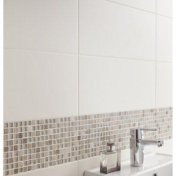 Carrelage mural Loft en faïence, blanc ivoire n°5, 20 x 50.2 cm - 24.95€ / m²