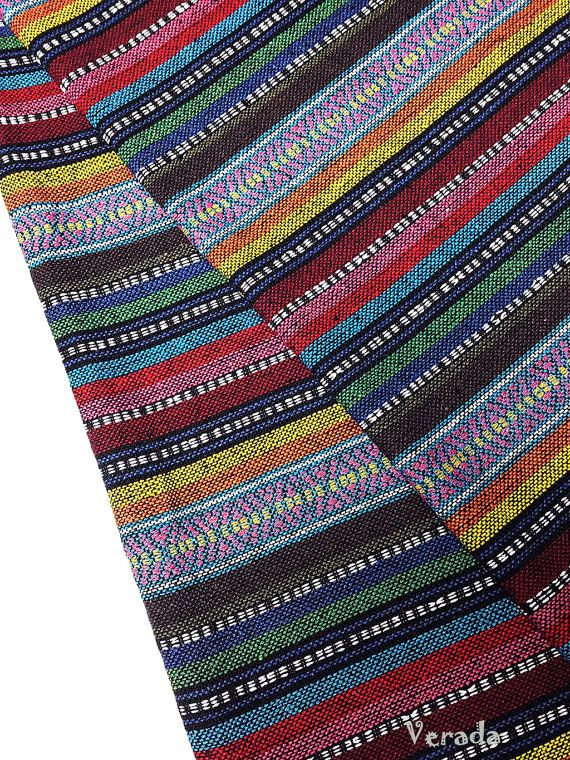 Thai Woven Fabric Tribal Fabric Cotton Native Fabric by the yard Ethnic fabric Aztec fabric Craft Supplies Woven Textile 1/2 yard (WF87)