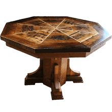 Amazing Octagonal Reclaimed Wood Dining Table   The Top Flips And Converts To A  Felt Covered