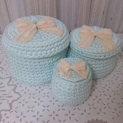 Juego de 3 tamaños de cestas tejidas a crochet
