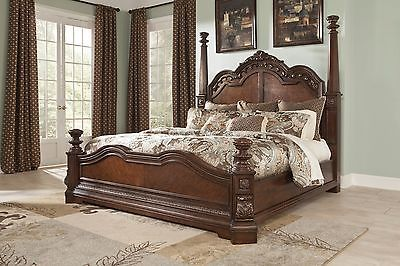 Ashley Ledelle Old World Cherry Wood King Queen Poster Bed Master Bedroom Set King Bedroom