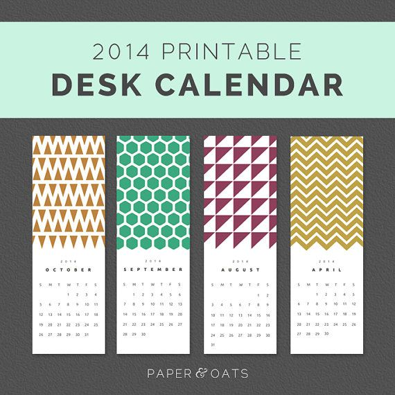 Printable 2014 Desk or Wall Calendar Planner PDF  //  Geometric Patterns, Bold, Bright Colorful, Simple, Vertical 4x10
