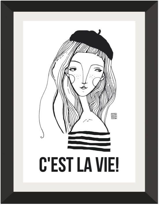C`EST LA VIE Digitální tisk autorské ilustrace, formát A3, hladký bílý papír vyšší gramáže 250g/m2. Vhodný k zarámování. Obrázek jedodáván bez rámu a pasparty. Vyobrazení je pouze ilustrační.