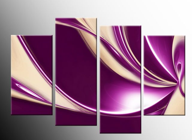 large purple wall art in purple cream large swirl mix canvas abstract 4 panel wall art. Black Bedroom Furniture Sets. Home Design Ideas