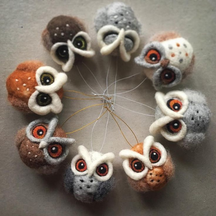 "170 Likes, 12 Comments - The Lady Moth ART (@theladymoth) on Instagram: ""Believe it or not... I am already making for Christmas NEEDLE FELTED OWL ORNAMENTS - they are…"""