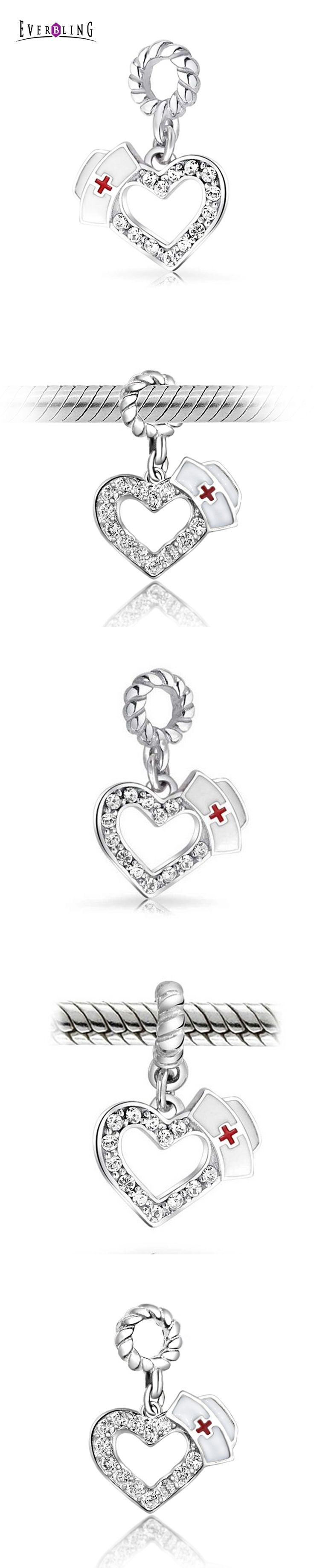 Everbling Jewelry Crystal Nurse Hat Heart Dangle 100% 925 Sterling Silver Charm Beads Fits Pandora European Charms Bracelet M