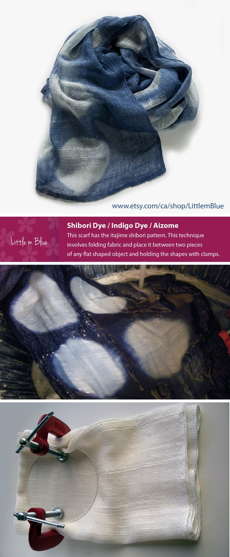 Shibori Dye / Indigo Dye / Aizome This scarf has the itajime shibori pattern. This technique involves folding fabric and place it between two pieces of any flat shaped object and holding the shapes with clamps. (Little m Blue)