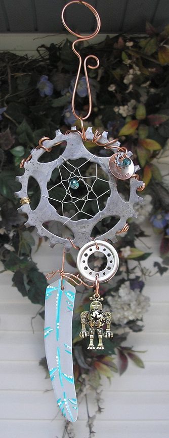 Steampunk Dreamcatcher Stained Glass Metal by DragonflyDreams1, $59.99