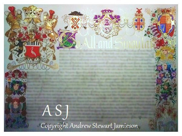 Letters patent designed and painted by English Artist Andrew Stewart Jamieson