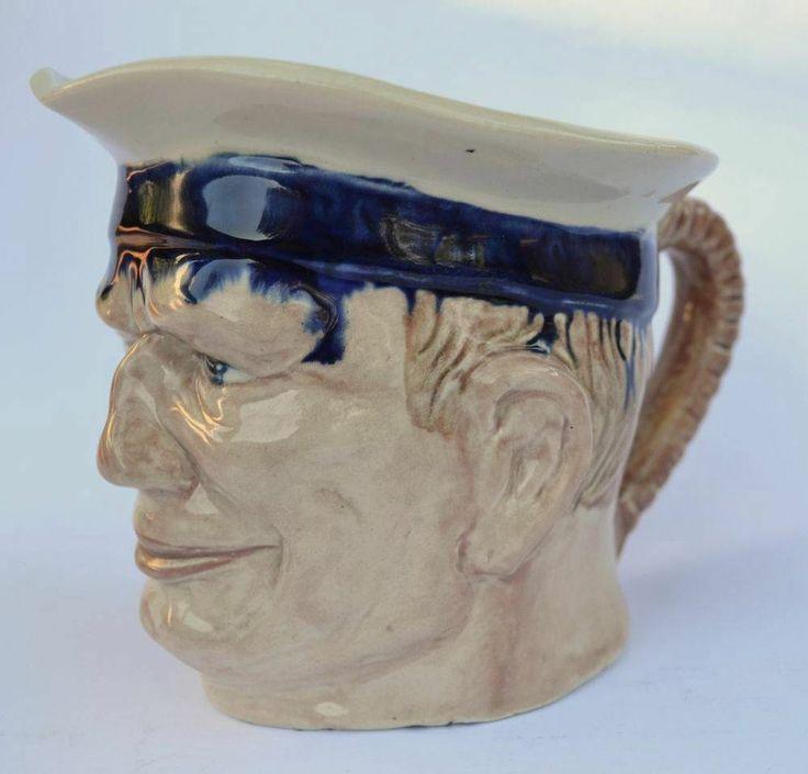 13.5cm x Melrose Ware Australian Pottery Seafarers Sailor Character Toby Jug
