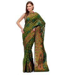 Green Banarasi Chanderi Cotton Saree | Fabroop USA | $44.99 |