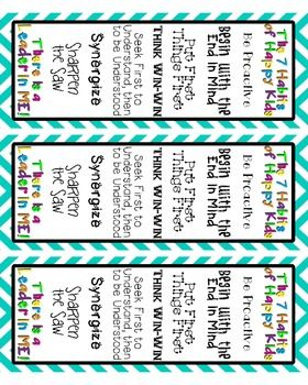 Leader in Me-The 7 Habits Bookmarks---going to teach the 7 Habits to my students!