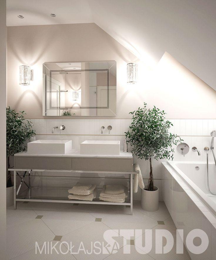 Jasna łazienka w stylu nowojorskim #biała łazienka #styl nowojorski #wnętrza