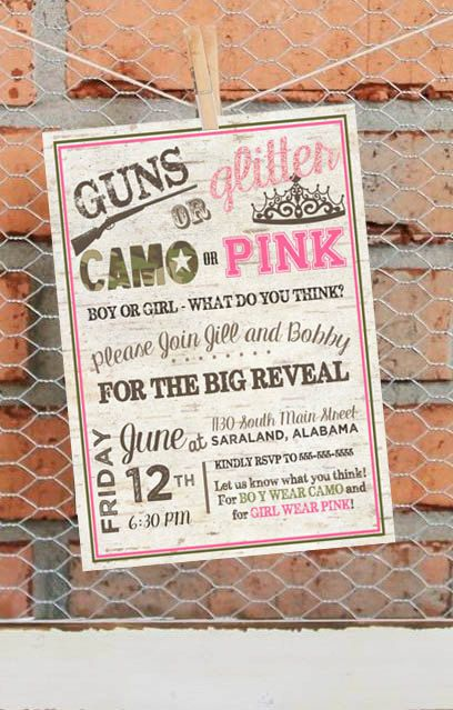 Printable Invitation – Baby - Gender Reveal Party – Guns or Glitter Gender Reveal - Camo or Pink - Personalized - DIY Invitation by libertyandlilacpaper. Explore more products on http://libertyandlilacpaper.etsy.com