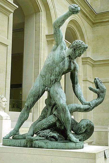 François-Joseph BOSIO Monaco, 1768 - Paris, 1845  CARBONNEAUX   Hercule combattant Achéloüs métamorphosé en serpent Bronze fondu par Carbonneaux en 1824 H. : 2,60 m. ; L. : 2,10 m. ; Pr. : 0,95 m.  Le modèle en plâtre fut exposé au Salon de 1814. Le sujet est tiré des Métamorphoses d'Ovide : Achéloüs était le rival d'Hercule pour l'amour de Déjanire ; au cours du combat, Achéloüs se transforma en serpent mais fut vaincu par Hercule. Ainsi Hercule se fit-il aimer de Déjanire. Par la suite…
