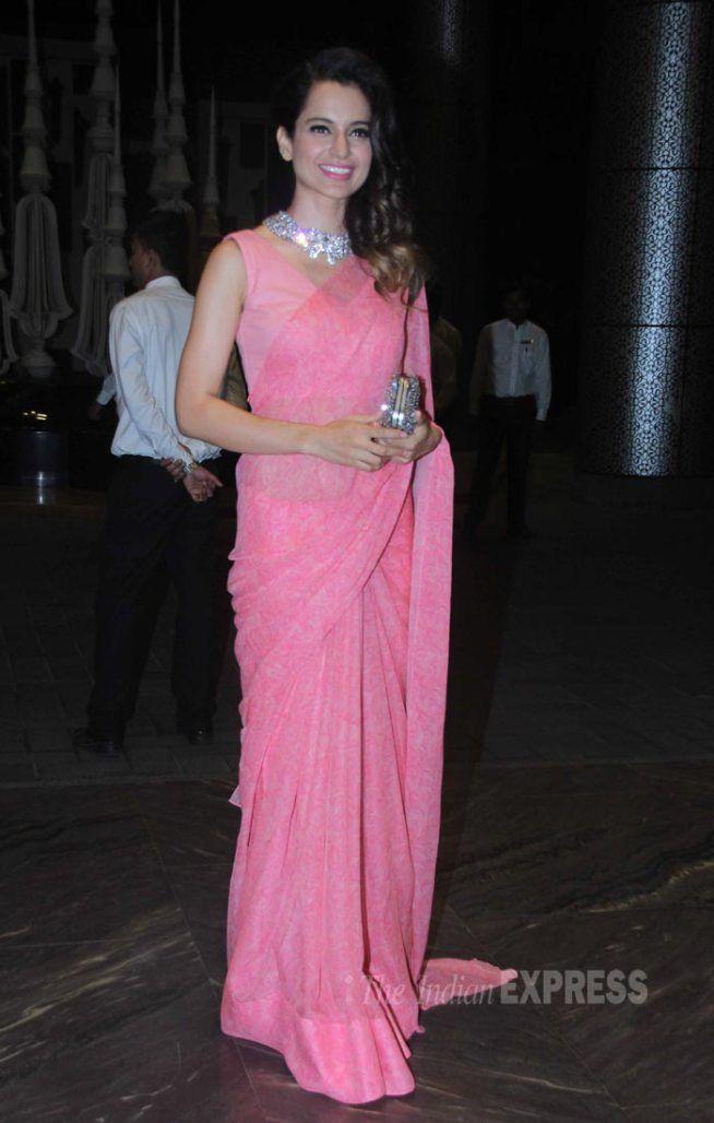 Kangana Ranaut at Shahid Kapoor and Mira Rajput's wedding reception. #Bollywood #ShahidMiraReception #ShahidKiShaadi #Fashion #Style #Beauty #Classy #Saree
