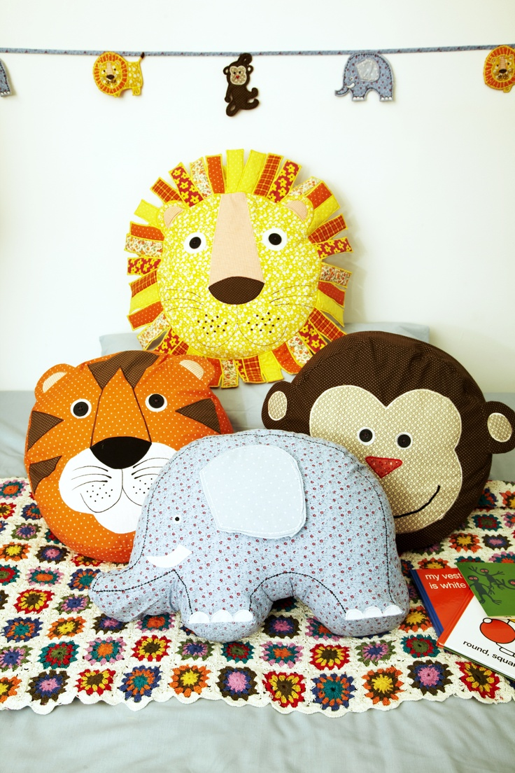 Kids animal cushions from 1495 Kids animal bunting also