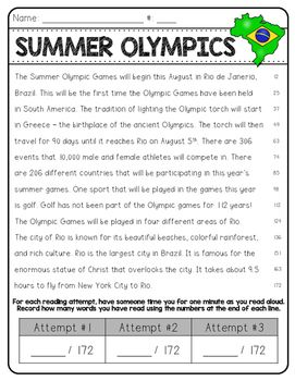 Are you looking for a fun way to help your students stay engaged while improving their fluency? These high-interest Olympic passages are the perfect tool - and they are free! There are two passages that include multiple reads and comprehension questions.