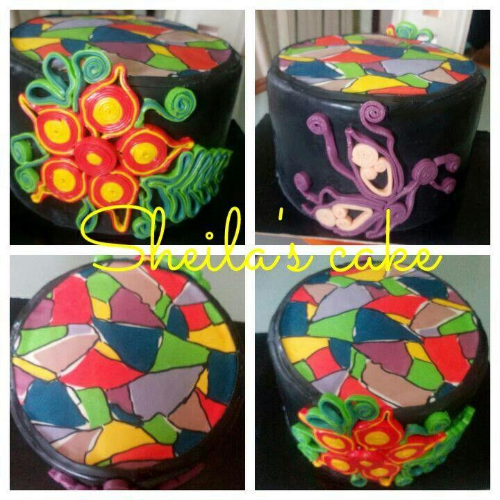 Quilling cake mosaic cake
