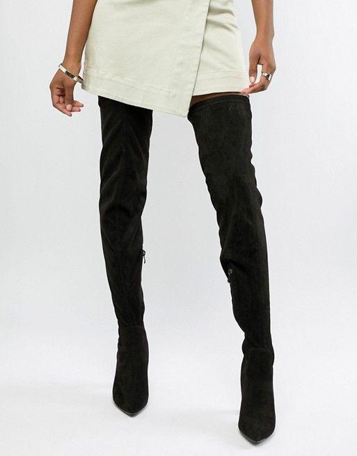 a005237b7 Черные ботфорты на блочном каблуке Public Desire   look inspire   Over the  knee boots, Boots, Knee boots