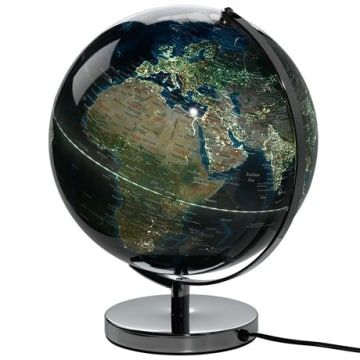 The world is your oyster with this light up globe. Track where you have been or plan your next big adventure all from the comfort of your home. With a colour palette of the night sky, this light up globe omits a muted glow, illuminating the many cities of the world in style. A fantastic focal feature for both traditional and contemporary interiors.