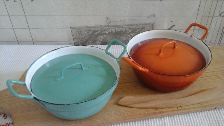 2 Dutch Enamel Mini Pots Dutch Oven Edy... Casseroles Dishes...Enamel Ware...Farmhouse Kitchen....Enamel Cookware...Children's cookware... by ImagedeVintage on Etsy