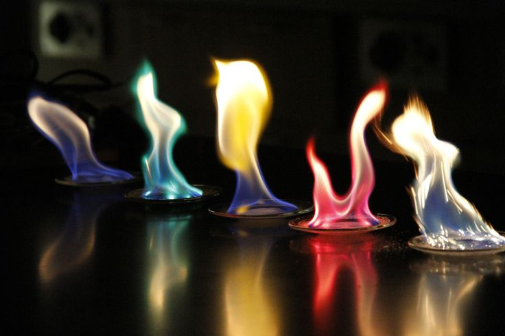 Demo: as metal salts are heated, electrons are excited to higher energy levels and release different colors when they come back down