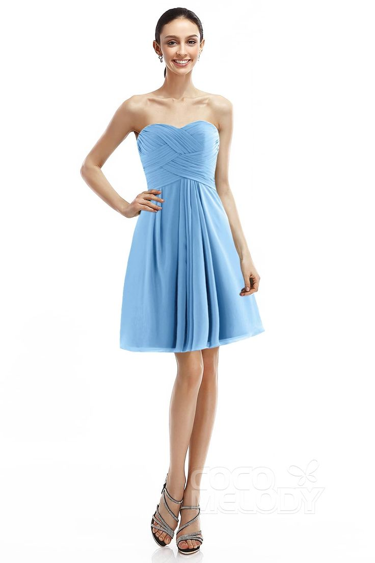 Modern A-Line Sweetheart Natural Knee Length Chiffon Sleeveless Zipper Bridesmaid Dress COZK14018