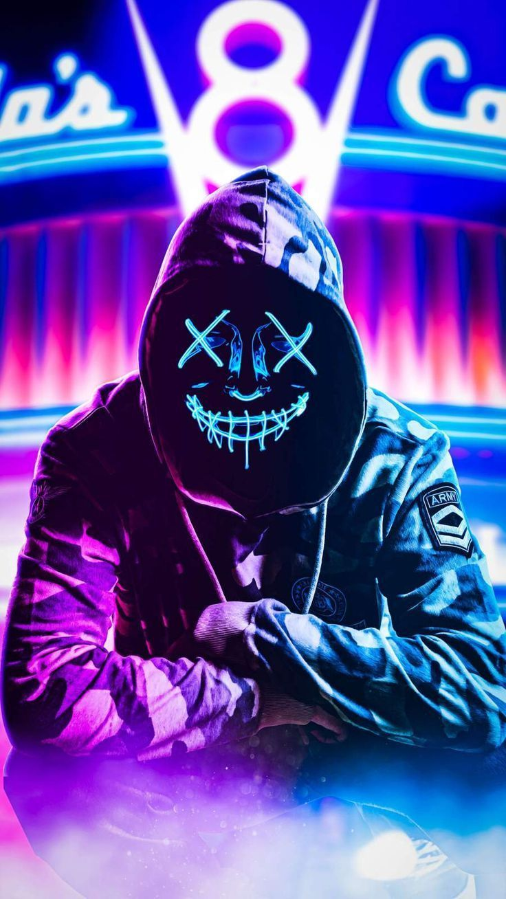 Neon Hoodie Mask Iphone Wallpaper Iphone Livewallpaperswid Iphone Wallpape In 2020 Joker Iphone Wallpaper Joker Hd Wallpaper Bape Wallpaper Iphone