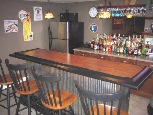 Basement bars tins and stainless steel on pinterest - How to decorate a bar ...
