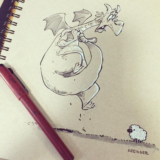 "#inktober day 13: SCARED ""Gorüng the Skittish"" has a extreme case of Ovinaphobia. #inktoberdragons"