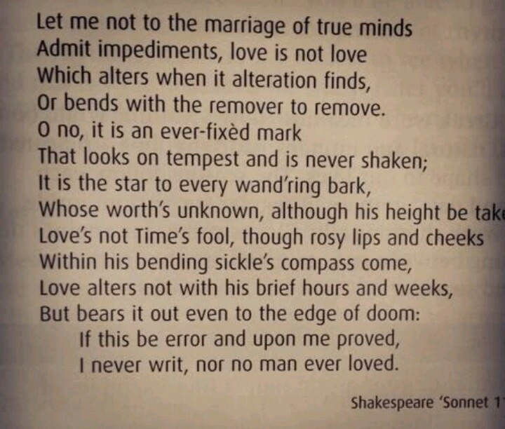 the definition of love in sonnet 116 a book by william shakespeare Books: glossary: scholars: quiz: shakespeare, william sonnet 116 shakespeare's greatest love poem sonnet 18 is.