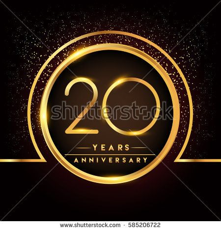 twenty years birthday celebration logotype. 20th anniversary logo with confetti and golden ring isolated on black background, vector design for greeting card and invitation card.