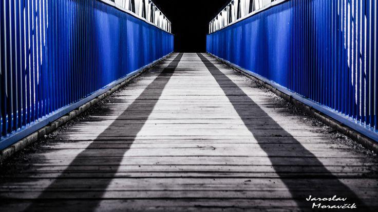 Empty footbridge in town Ruzomberok, Slovakia